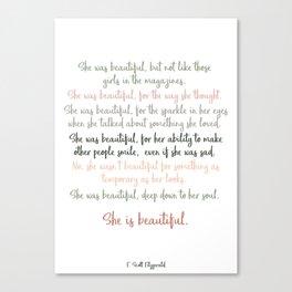 She Was Beautiful By F. Scott Fitzgerald 3 #minimalism #poem Canvas Print