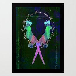 Pink Love Birds Art Print