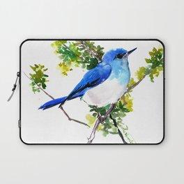 Mountain Bluebird, blue bird, art design blue green cottege Laptop Sleeve