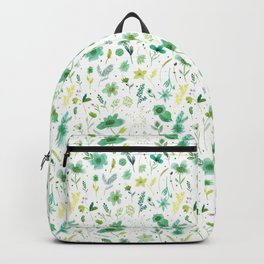 Verdant Green Flowers Backpack