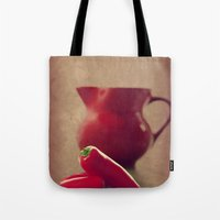 moulin rouge Tote Bags featuring Rouge by Tanja Riedel