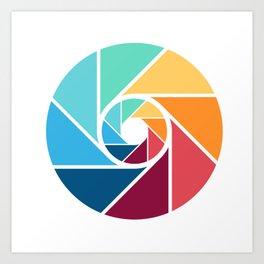 Focus lens colour color rainbow camera queer art gifts Art Print