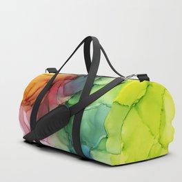 Rainbow Bloom Abstract ink Duffle Bag