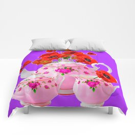 DECORATIVE PORCELAIN & RED  POPPIES FLORA  ART Comforters