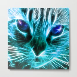 Lightning Cat Metal Print