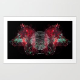 A Precipice in Front, Wolves Behind Art Print