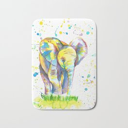 Baby Elephant - Watercolor Painting Print Bath Mat