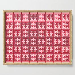 red Greek Key pattern - Greek fret design Serving Tray