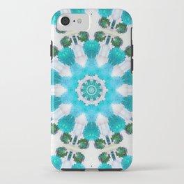 Blue mosaic mandala iPhone Case