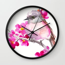 Pink Robin and Pink Flowers, Nursery Art Wall Clock