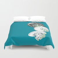 jelly fish Duvet Covers featuring Jelly Fish by Eleanor V R Smith