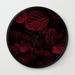 Tropical Red Leaves Wall Clock