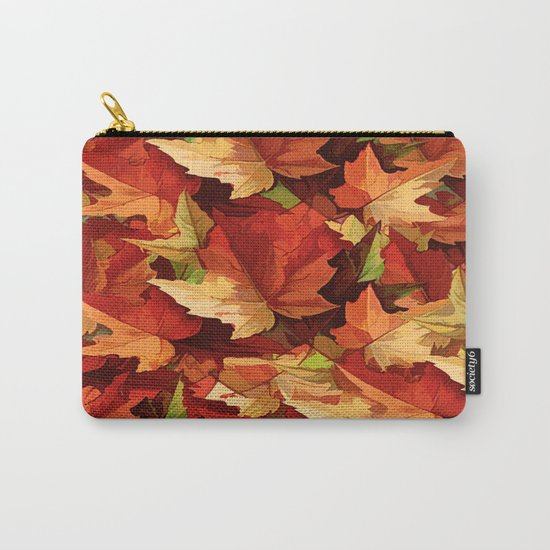 Autumn Leaves Abstract - Painterly Carry-All Pouch