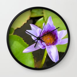 Blue Water Lily Wall Clock