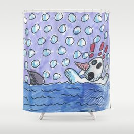 Christmas #3 Snow Shark Attack Shower Curtain