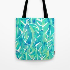 Split Leaf Philodendron – Turquoise Tote Bag
