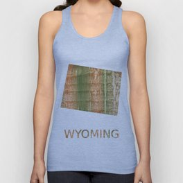 Wyoming map outline Brown green blurred watercolor texture Unisex Tank Top