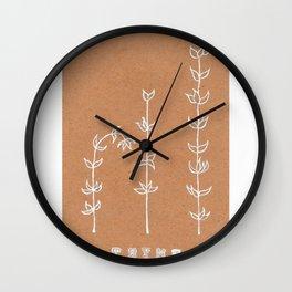 Thyme Herb Design — Botanical Art Print — Herb Plant Design — Thyme White Ink Design Wall Clock