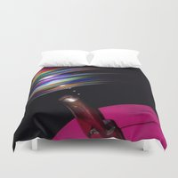 record Duvet Covers featuring Rainbow Record by Jason Simms