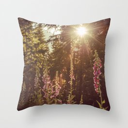 A New Day Wildflowers at Dawn - Nature Photography Throw Pillow