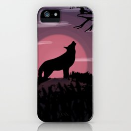 Wolf full moon iPhone Case