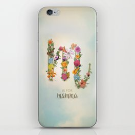 """Floral Monogram M - """"M is for mamma"""" - Mother's Day gifts iPhone Skin"""
