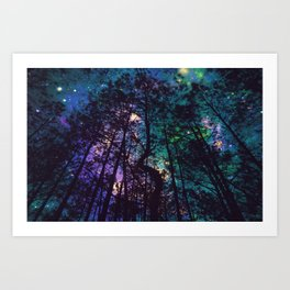 Black Trees Colorful Teal Space Art Print