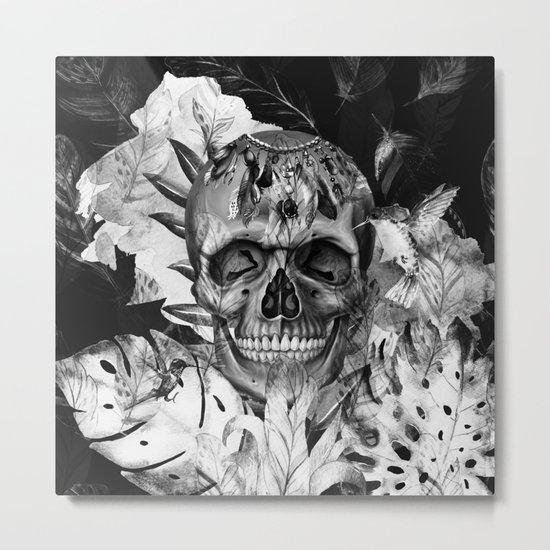 Black White Boho Skull Metal Print
