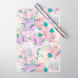 Pastel Purple and blue Lilac & Hydrangea - Flower Design Wrapping Paper