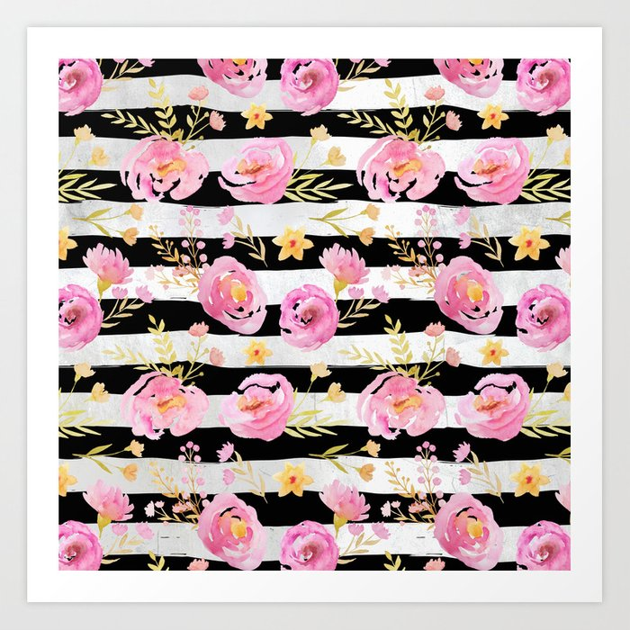 Delicate Poppy Pattern On Stripes Art Print