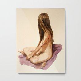 nude sitting woman watercolor painting Metal Print