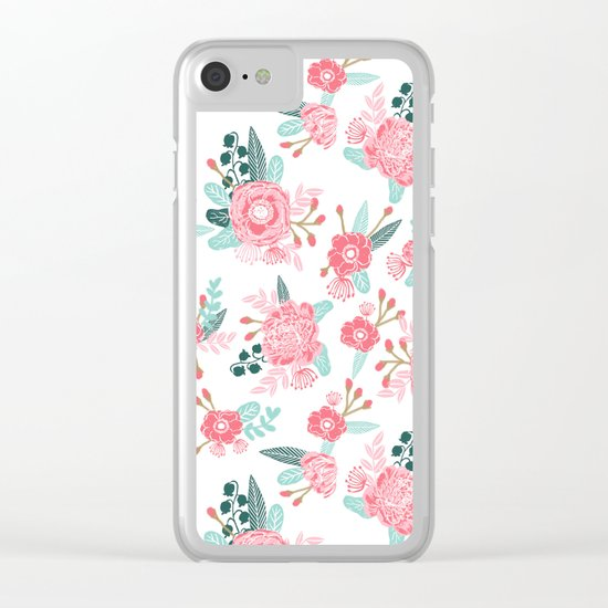 Peony florals basic girly trendy floral bouquet white fresh colors modern botanicals Clear iPhone Case