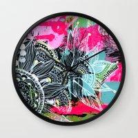 alisa burke Wall Clocks featuring pink and black by Alisa Burke