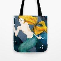 little mermaid Tote Bags featuring little mermaid by genie espinosa