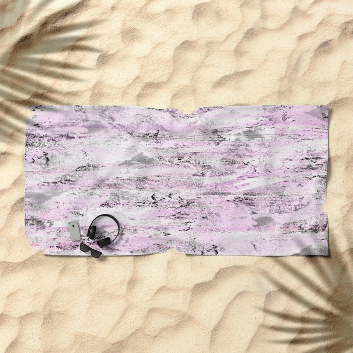 Pink and Grey Abstract Beach Towel
