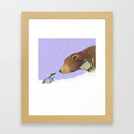 badger meets bear in the snow Framed Art Print