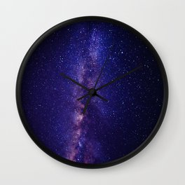 Purple Glitter Star Galaxy Wall Clock
