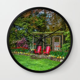 Resting place for two in a city park  Wall Clock