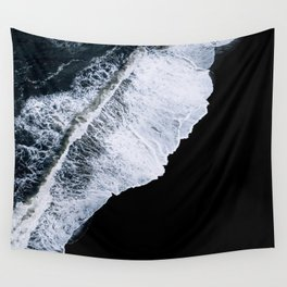 Waves crashing on a black sand beach – minimalist Landscape Photography Wall Tapestry