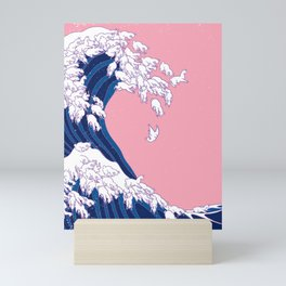 Llama Waves in Pink Mini Art Print