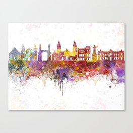 Lima skyline in watercolor background Canvas Print