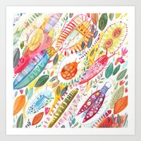 bugs Art Prints featuring Bugs by Mia Dunton