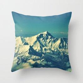 Mount Everest and surrounding mountain range Throw Pillow