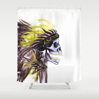 native american Shower Curtains featuring Native by @Subliminal_society