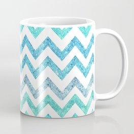 Summer Waves | Faux blue turquoise glitter chevron pattenr Coffee Mug