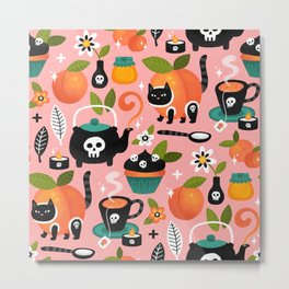 Peachy Tea Time - Pink Metal Print