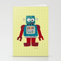 50s Stationery Cards featuring whirr 50s retro robot by blossyfloss