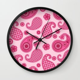 Paisley Pattern, Pastel Coral Pink and Fuchsia Wall Clock
