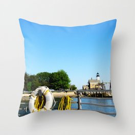 Sheffield Island Lighthouse, Norwalk, Connecticut, blue sky Throw Pillow