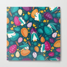 Busy Easter Bunnies Metal Print